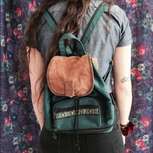 Vintage teal mini backpack